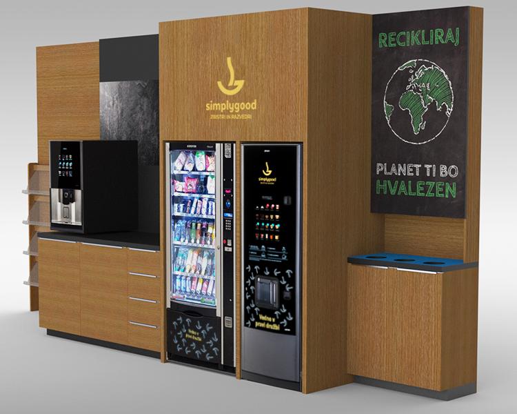 Arranged corner with Simplygood vending machine and coffee machine.